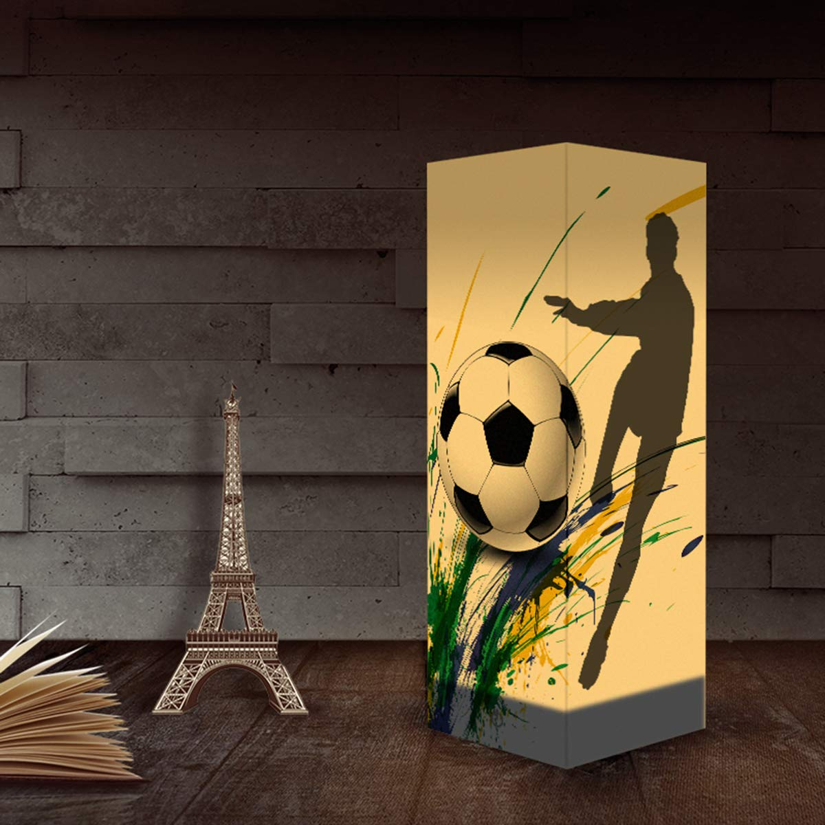 Cafe Bookcase USB /& 3AAA Battery Powered Touch Switch Desk Night Light for Kids Bedroom Football Paper Design Shadow Lamp Living Room