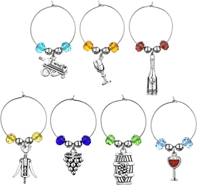 Wineglass Rings Ideal Gift- 609 Party Wine Glass Marker Wine Lover Gift Set of 10 Acorn Crystal Wine Glass Charm
