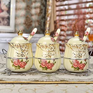 MUMUMI Spice Storage Containers,Small Spice Jars Ceramic Spice Jars with Lid and Spoon Ceramic Spice,B