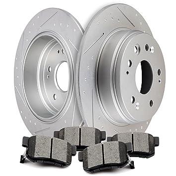 Rear Drilled /& Slot Brake Rotors Set Ceramic Pads For 2005-2010 Honda Odyssey