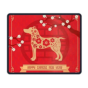 floral chinese new year background with dog mouse pad stylish non slip rubber mousepad for