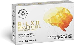 BEEKEEPER'S NATURALS B.LXR Brain Fuel - Memory, Focus and Clarity Liquid Formula, Supports Productivity - Royal Jelly, Ginkgo Biloba, Bacopa Monnieri - Keto Friendly, Gluten & Caffeine-Free, 6 Pack