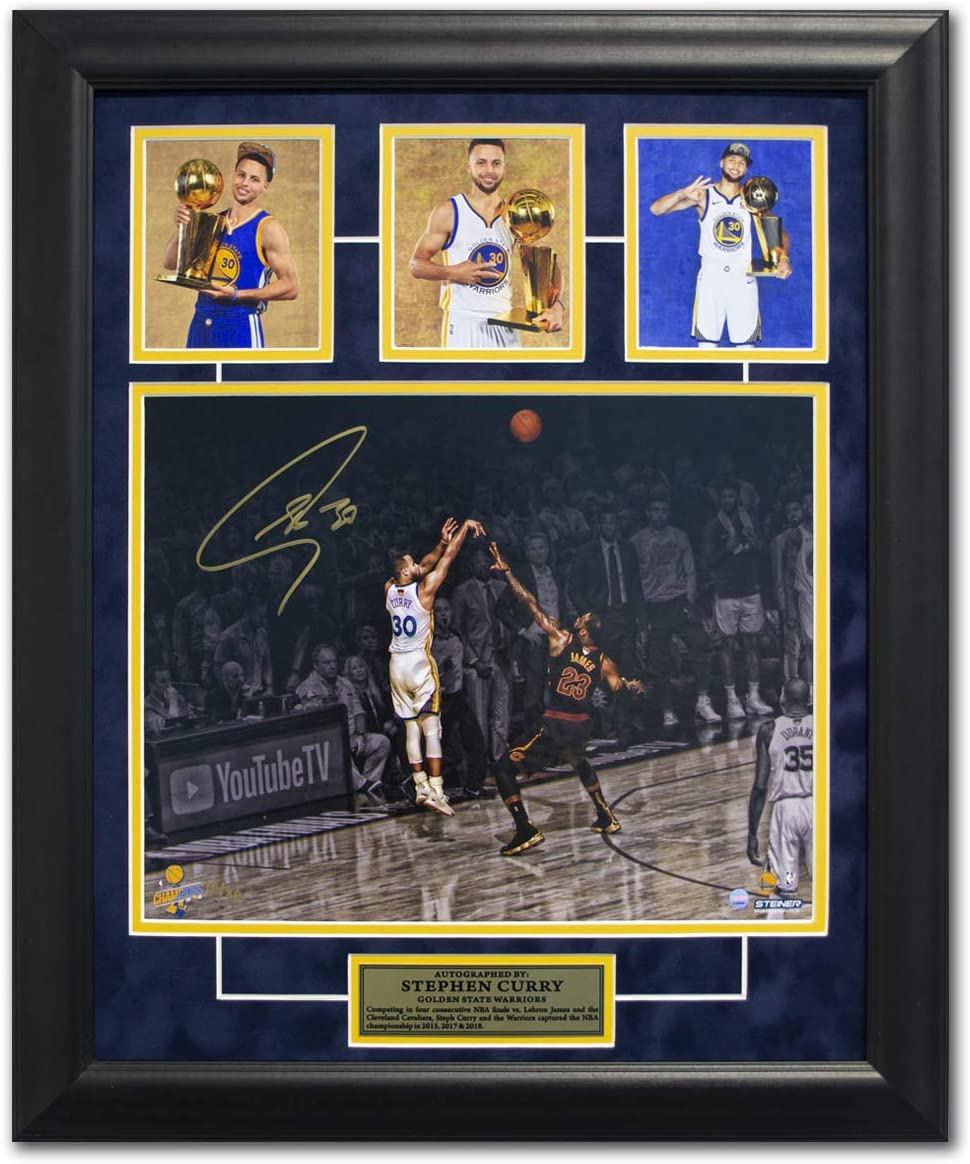 Steph Curry Golden State Warriors Signed Triple NBA Champion 19x23 Frame #/30