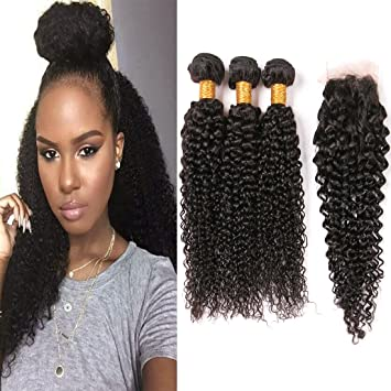 Amazon.com : Brazilian Curly Hair 14 Bundles With Closure 14A Afro ...