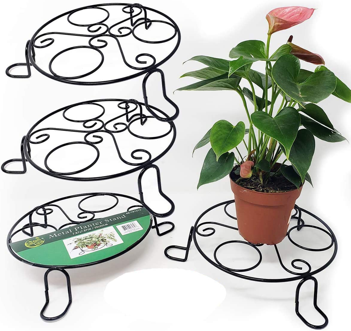 Office Library Lawn Cafe 12.3 * 9CM Patio Garden Restaurant Plant Stand Holder Yard Flower Pot Base Plant Stand for Indoor Outdoor with Non-Slip Mat for Home