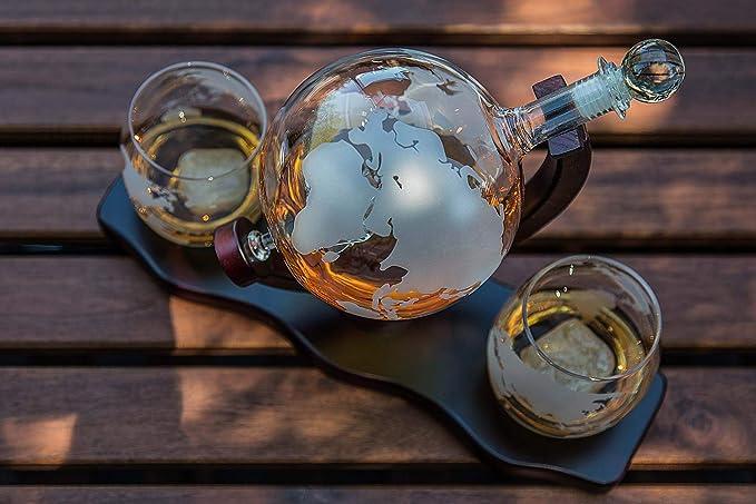 Keho Keho Kehongdun Glaswein Weinspender,1500ml Whisky Karaffe Dekantierer Whiskeygl/äser Antiker Glaswein Weinspender Whisky Dekanter,Globus mit Schiff,Restaurant Bar Requisiten