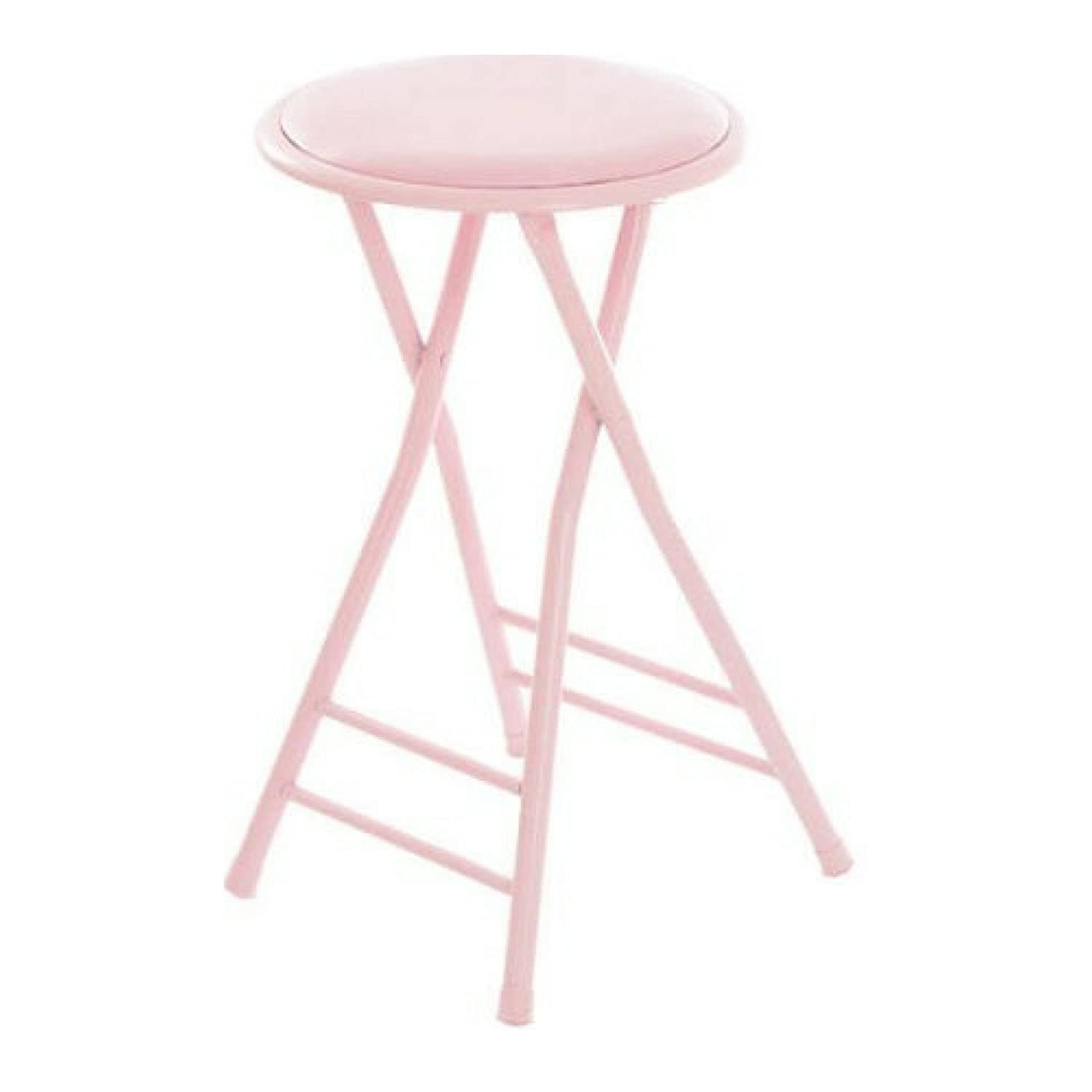 24 Cushioned Folding Stool Pink Colors By Trademark Home Collection