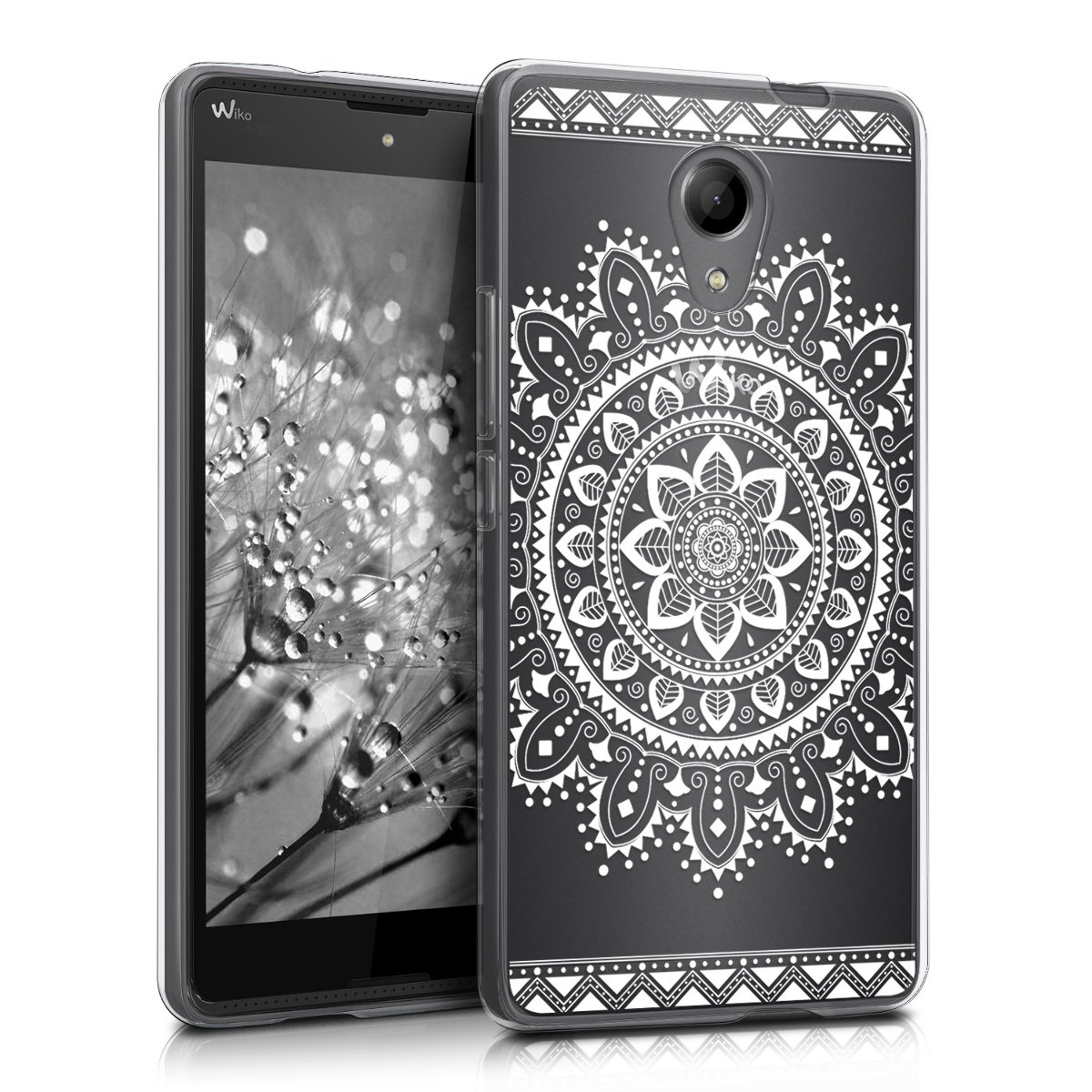 kwmobile Funda para Wiko Robby - Carcasa de [TPU] para móvil y diseño de Flores Aztecas en [Blanco/Transparente]