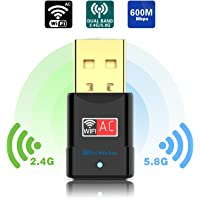 Blueshadow USB Wifi Adapter - Dual Band 2.4G/5G Mini Wi-fi ac Wireless Network Card Dongle with High Gain Antenna For Desktop Laptop PC Support Windows XP Vista/7/8/8.1/10 (USB Wifi 600Mbps)