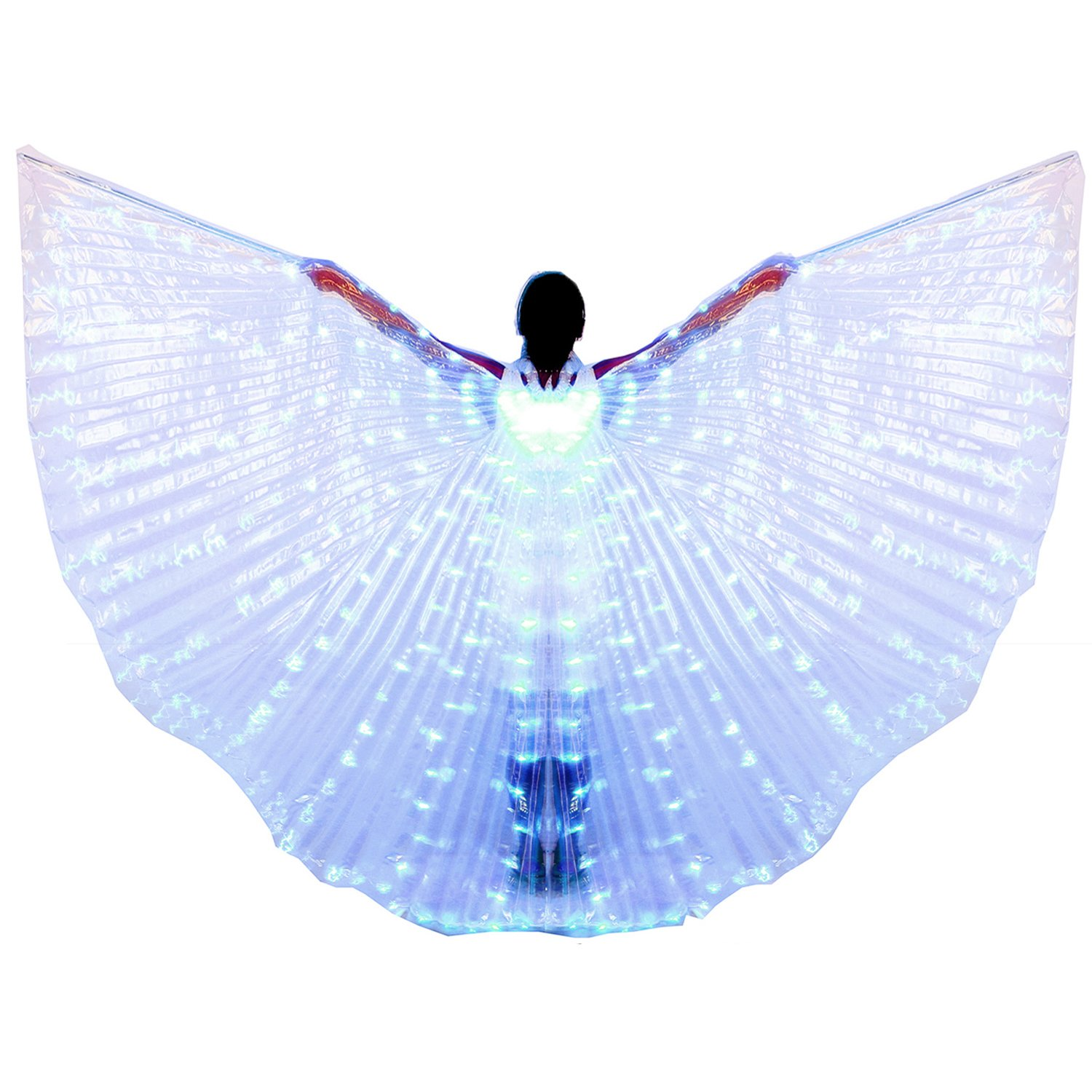 Dance Fairy Belly Dance LED Angel Isis Wings with Telescopic Sticks(Blue) by Dance Fairy