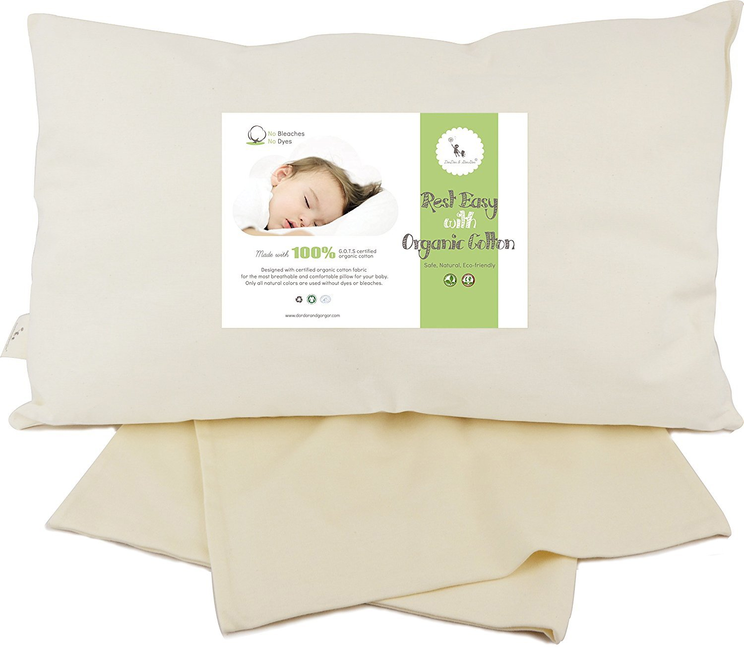 DorDor and GorGor ORGANIC Baby Toddler Pillow 13 X 18 for Kids. Pillow with Beige Pillowcase. ''PLEASE WASH IT AFTER OPEN THE PACKAGE. IT WILL BE FLUFFY AFTER WASH.'' (With Pillowcase)