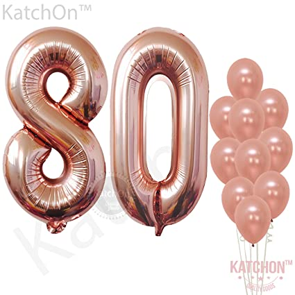 Rose Gold 80 Number Balloons