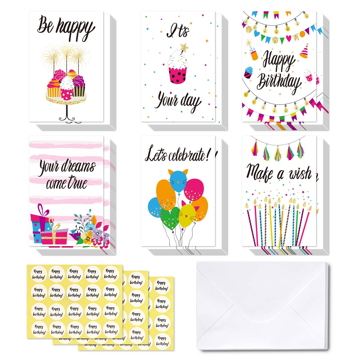 48 Happy Birthday Cards Ohuhu Folded Card For Kids Blank Inside Greeting Note W White Envelopes And Stickers Candle Cake Balloon Gift
