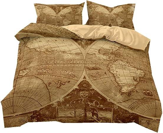 Literie Carte du Monde coloré Style Housse de Couette et taie d\'oreiller  Fibre 100% Polyester (Carte du Monde Antique, 220 x 230 cm)