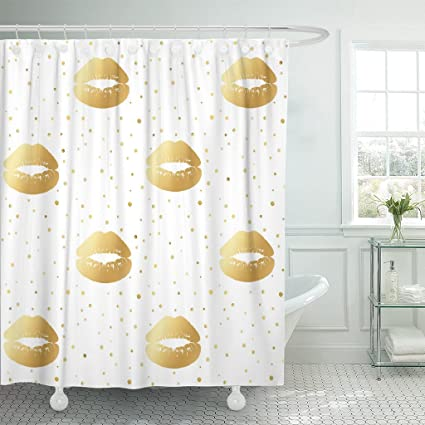 Amazon TOMPOP Shower Curtain Abstract Gold Glamorous Lips On