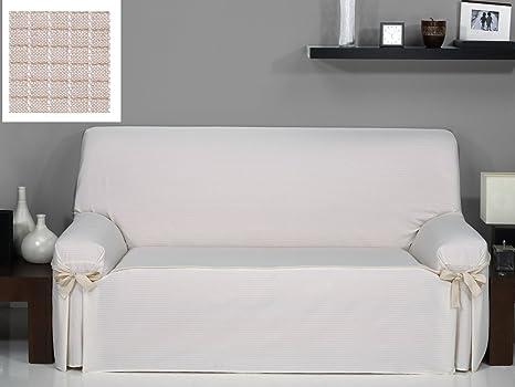 textil-home Funda de Sofá con Lazos PRAGA, 3 plaza (180Cm a 240Cm). Color Lino