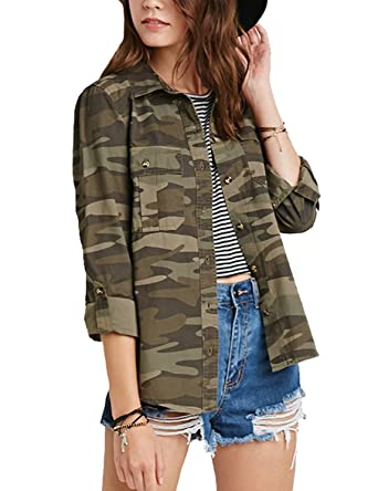 15093f1cc2e34 HAOYIHUI Women s Cowl Neck Long Sleeve Button Down Casual Camouflage ...