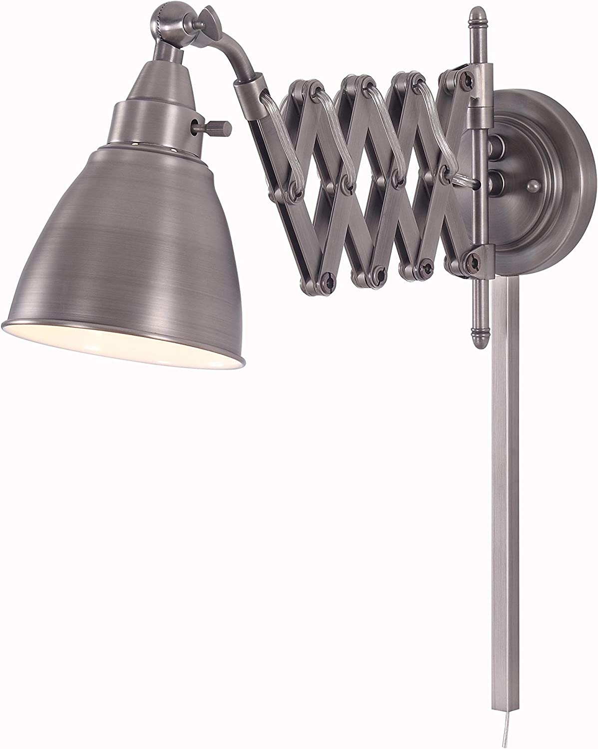 Kenroy Home Kenroy 32197ANI Transitional One Light Swing Arm Wall Lamp from Floren Collection in Pwt, Nckl, B/S, Slvr. Finish, Antique Nickel