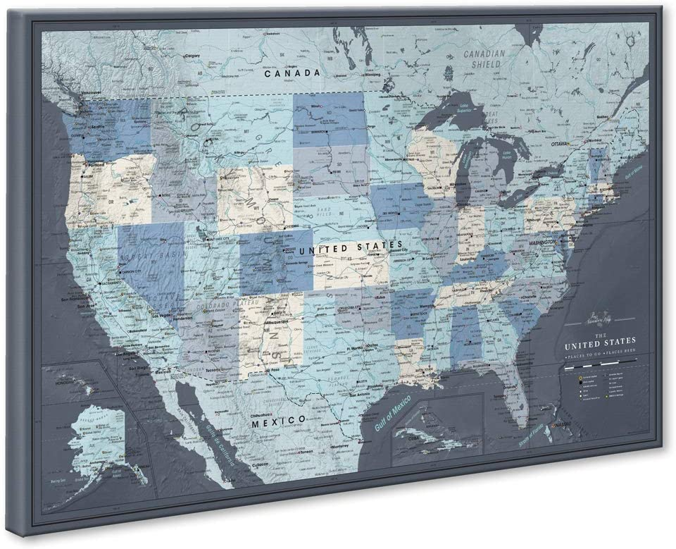 Us Wall Map With Pins Amazon.com: US Travel Map with Push Pins on Canvas   Detailed USA