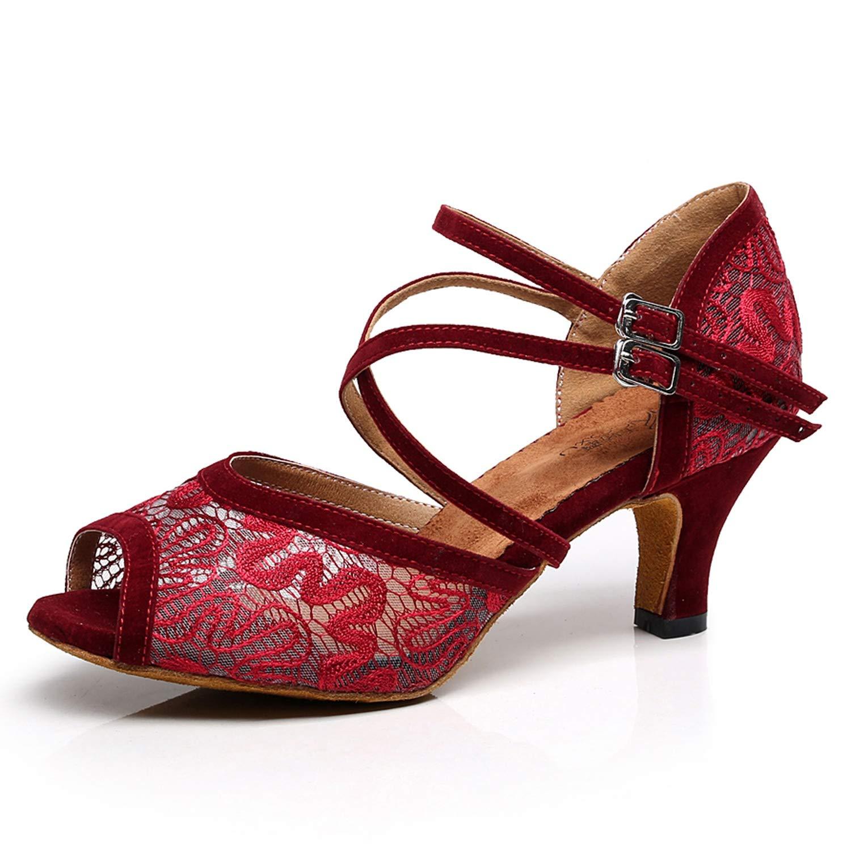Elobaby Chaussures De Danse pour Femmes Bas Talon Net Salsa Bal Moderne Jazz Tango Salle De Bal Salsa SoiréE Mariage 36 EU|Red c3f760