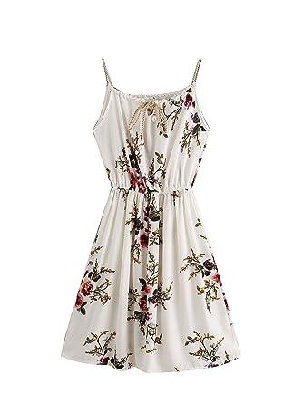 1b691fb1a3021 SOLYHUX Mujeres Vestido Estampado Sin Mnagas para Vacaciones Verano Flores  Vestidos