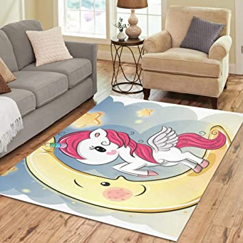 Amazon Com Interestprint Adediy Area Rug Cute Unicorn Girl On The