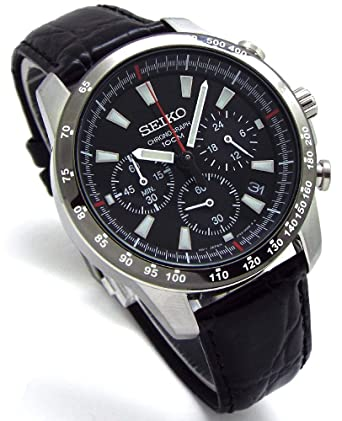 detailed look fea1d c8cdd Amazon | SEIKO クロノグラフ 腕時計 本革ベルトセット 国内 ...