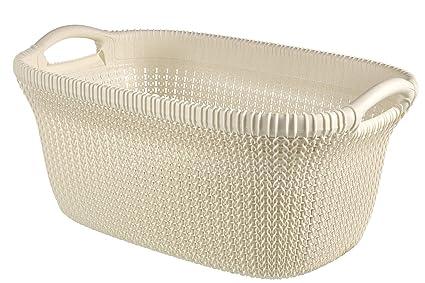 Nouvelles Arrivées b0986 db2ee Curver Knit Laundry Storage Basket, Oasis White, 40 Litre