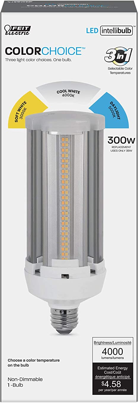 Feit Electric 300W Equivalent Choice Color Changing CCT,Yard,Barn LED Light Bulb