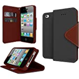 GPL Cellto Apple iPhone 4 iPhone 4S Premium Wallet Case [Dual Magnetic Flap] Diary Cover PU EPI Leather + Life Time Warranty - Black Brown