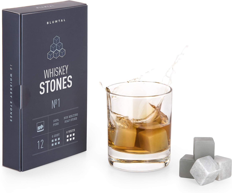 De Blumtal - 12 Piedras Para Whisky | Cubitos Refrigerantes De Esteatita Natural Para Enfriar Todo Tipo De Bebidas Sin Agua | Lavar Y Volver A Enfriar ...