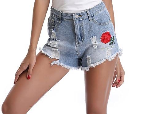 a7a44ece95bd4c Miss Moly Damen Jeans Shorts mit Druck und Stickerei Blumen Muster High  Waist Hell Blau -
