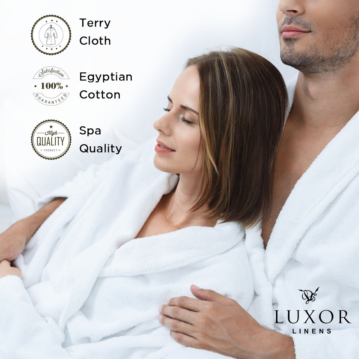 Luxor Linens - Terry Cloth Bathrobes - 100% Egyptian Cotton Mr.& Mrs. Bathrobe Set - Luxurious, Soft, Plush Durable Set of Robes by Luxor Linens (Image #5)