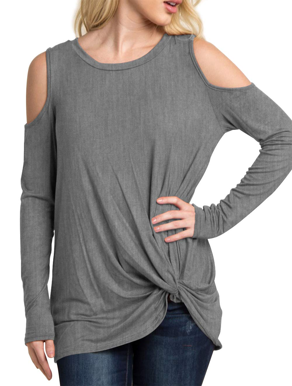 Eanklosco Women's Long Sleeve Cold Shoulder Cut Out T Shirts Casual Knot Front Tunic Tops (Gray, S)
