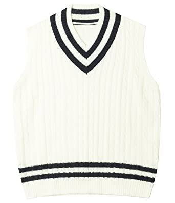 ililily Men Striped V-neck Cable Knit Tennis Sweater Vest ...