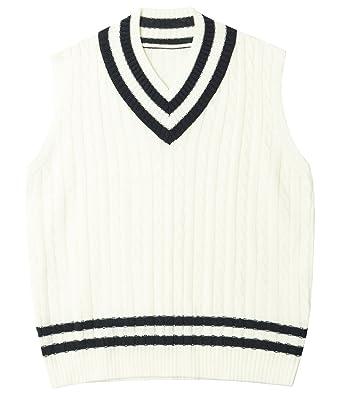 Ililily Men Striped V Neck Cable Knit Tennis Sweater Vest Sleeveless