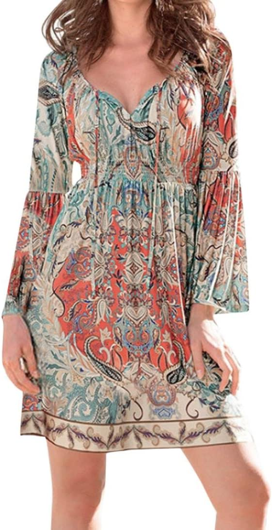 Balakie Ladies Vintage Printed Ethnic Style Short Dresses Hot Sale!! Women Summer Bohemian Beach Dress S, Multicolor