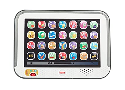 Fisher-Price CDG57 - Lernspaß Tablet, Kindertablet und Lernspielzeug mit mitwachsenden Spielstufen, grau, Kinder Spielzeug ab