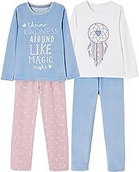 129b1050bfe80 Vertbaudet Lot de 2 Pyjamas bi-matière Fille combinables