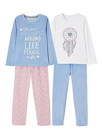 a4ae5b4481805 Vertbaudet Lot de 2 Pyjamas bi-matière Fille combinables  Amazon.fr ...
