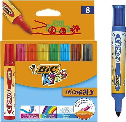 BIC Kids Decoralo - Lote de rotuladores para colorear Pack de 8: Amazon.es: Oficina y papelería