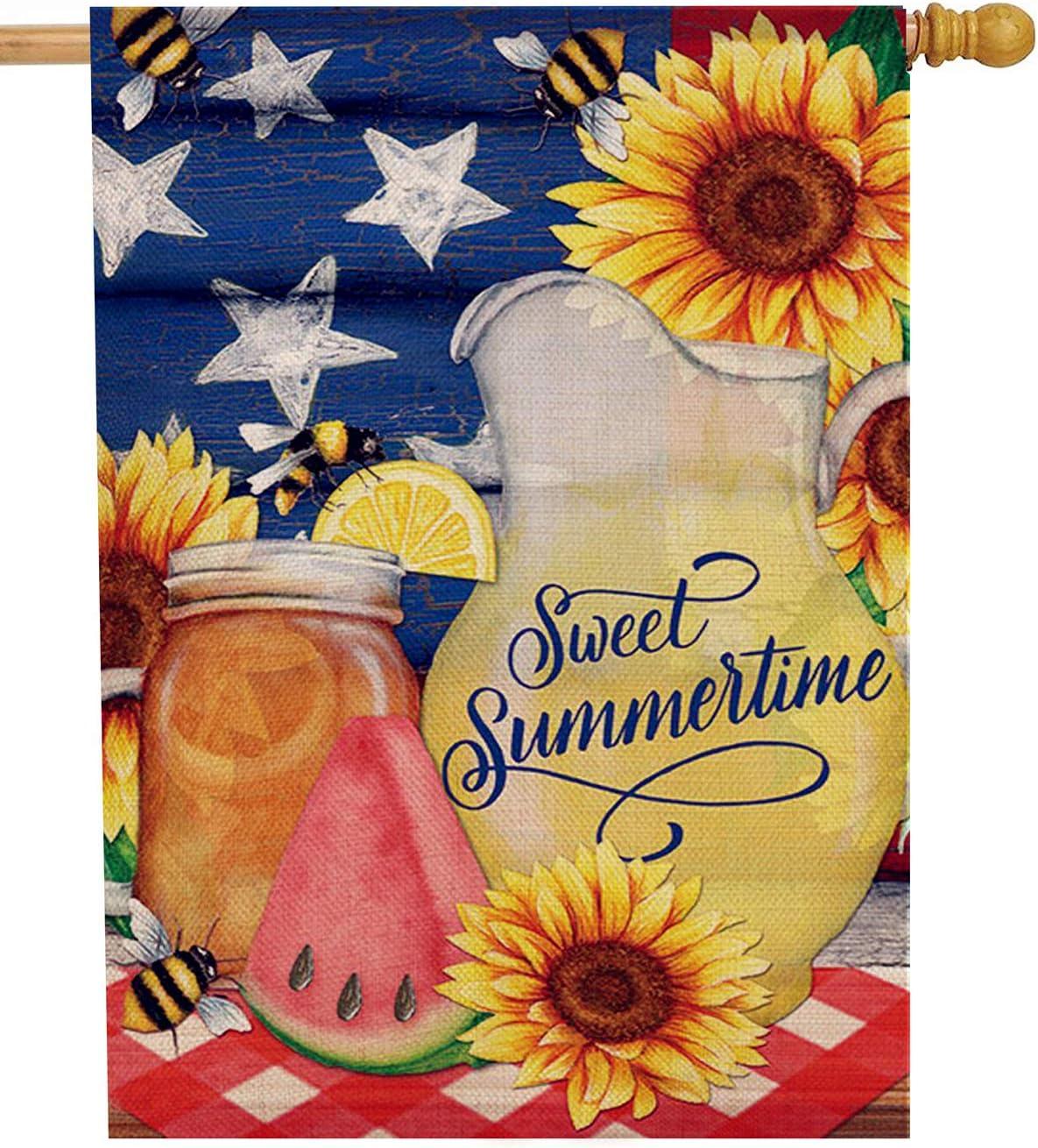 Dyrenson Watermelon Flower 28 x 40 House Flag Summer Double Sided, Sunflower Mason Jar Burlap Garden Yard Decoration Patriotic Star, Floral Seasonal Outdoor Décor Decorative Spring Large Flag Lemon