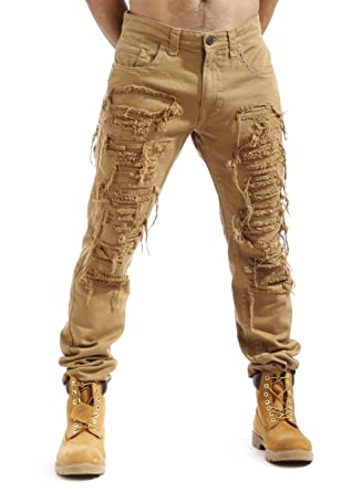 Smoke Rise Men's Heavy Twill Pants With Rip & Repair -Wheat-38/34 ...