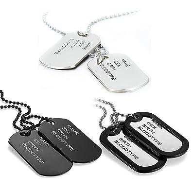 5965565570d JewelryWe Bijoux 3PCS Collier Pendentif Homme Gravure Personnalisation Dog  Tag Double Plaque Style Miitaire Nom Prénom