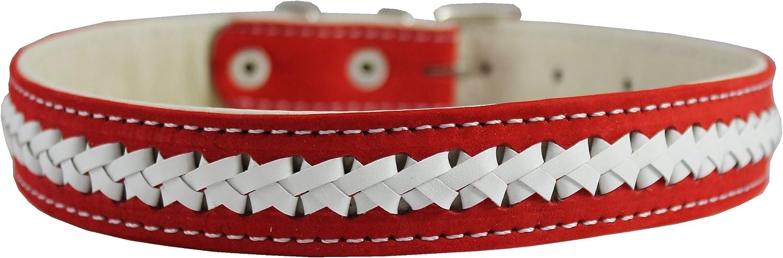 Nubuck Leather Braided Dog Collar Red 17