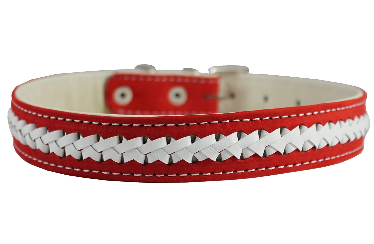 Nubuck Leather Braided Dog Collar Red 23x1 Wide. Fits 17-21 Neck Size Padded