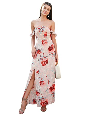 9d0f083665f Simplee Women Summer Off Shoulder Backless Split Flowy Long Maxi Party Dress