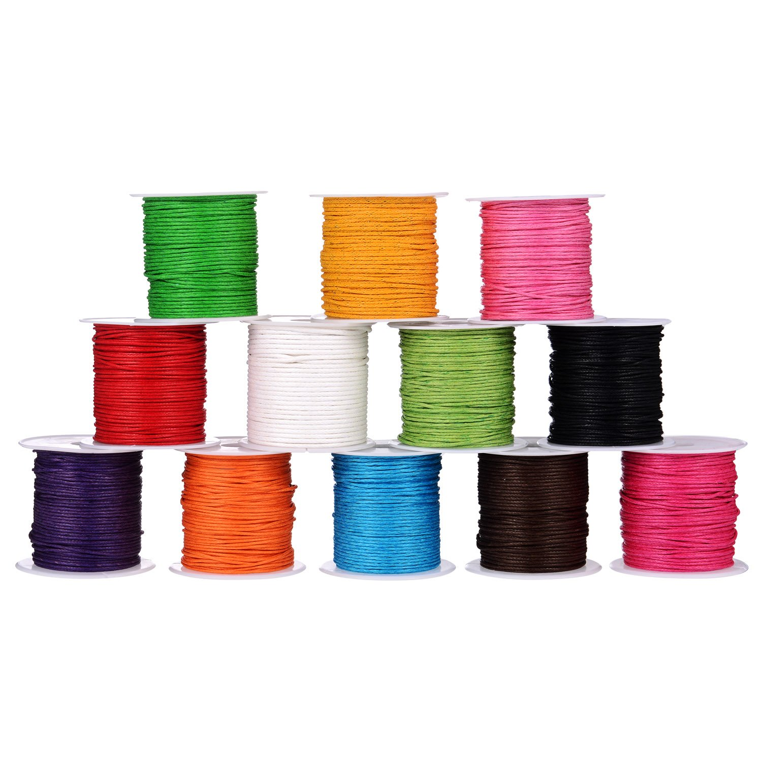 12 Rolls 1 mm Waxed Cord, Imitation Leather Waxed Thread Braided Strings for Craft Making, DIY, Beading, 12 Colors, 10 Meters Each Shappy 4336807103
