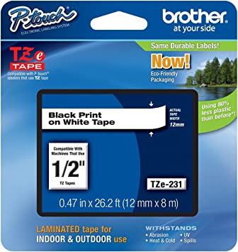 Black on White Label Tape for Brother P-Touch 1230PC 1250CC 1250CCVP