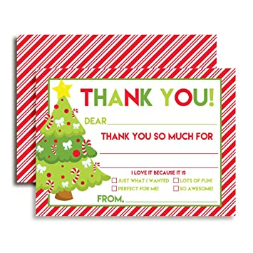 Amazon Com Decorated Tree Christmas Thank You Notes For Kids Ten